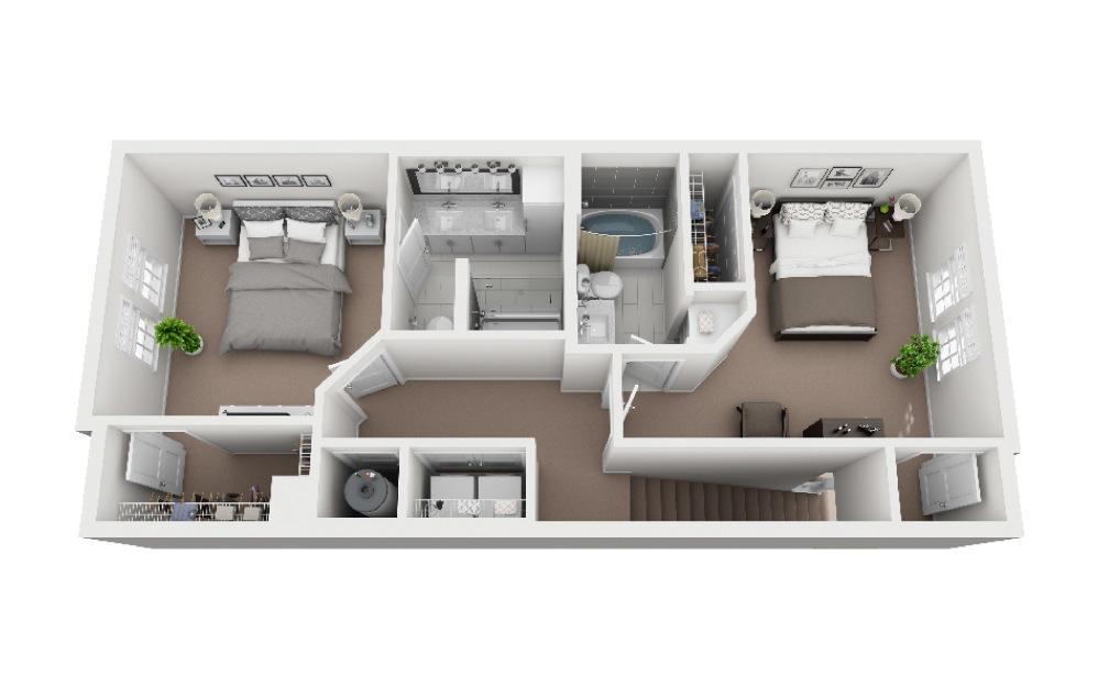 Longboat - 2 bedroom floorplan layout with 2.5 baths and 1422 square feet. (Floor 2)