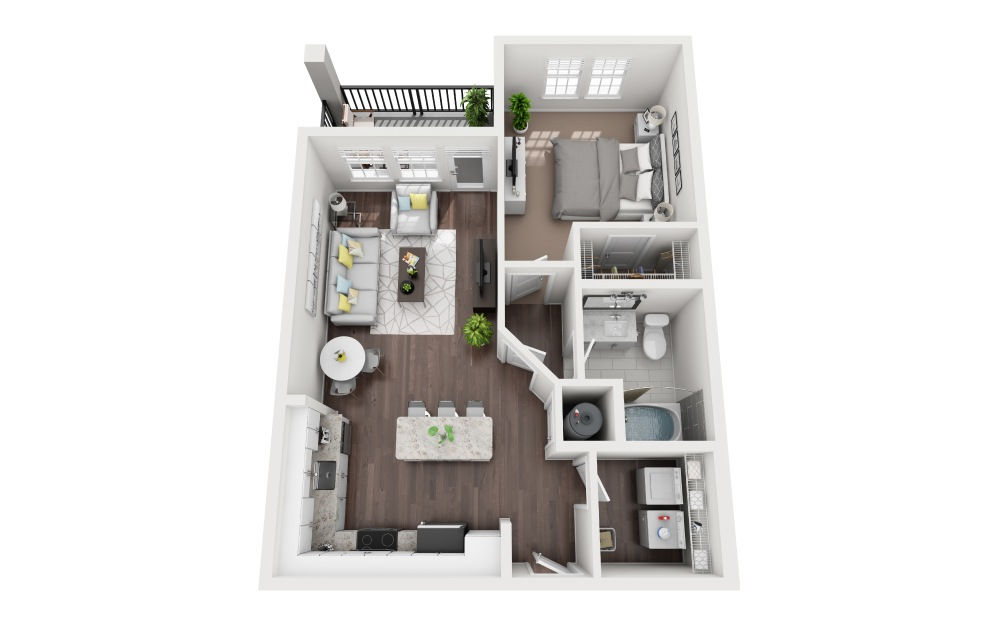 Anna Maria - 1 bedroom floorplan layout with 1 bath and 759 square feet.