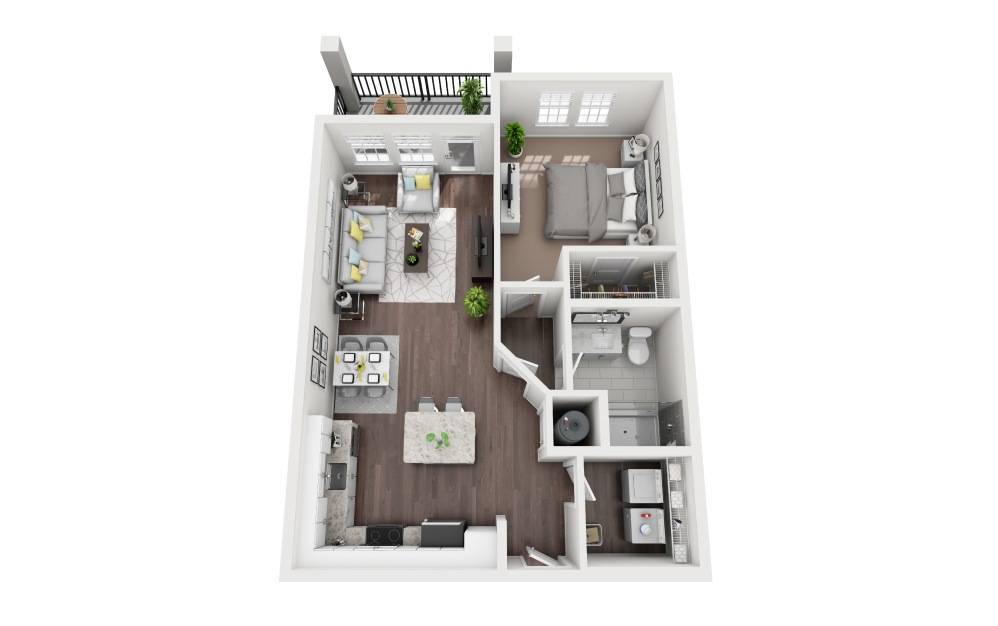 Brohard - 1 bedroom floorplan layout with 1 bath and 800 square feet.