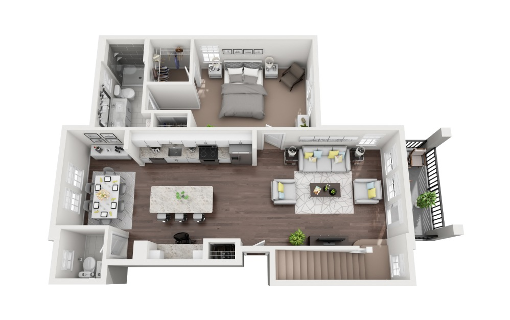 Casey - 3 bedroom floorplan layout with 3.5 baths and 1771 square feet. (Floor 1)