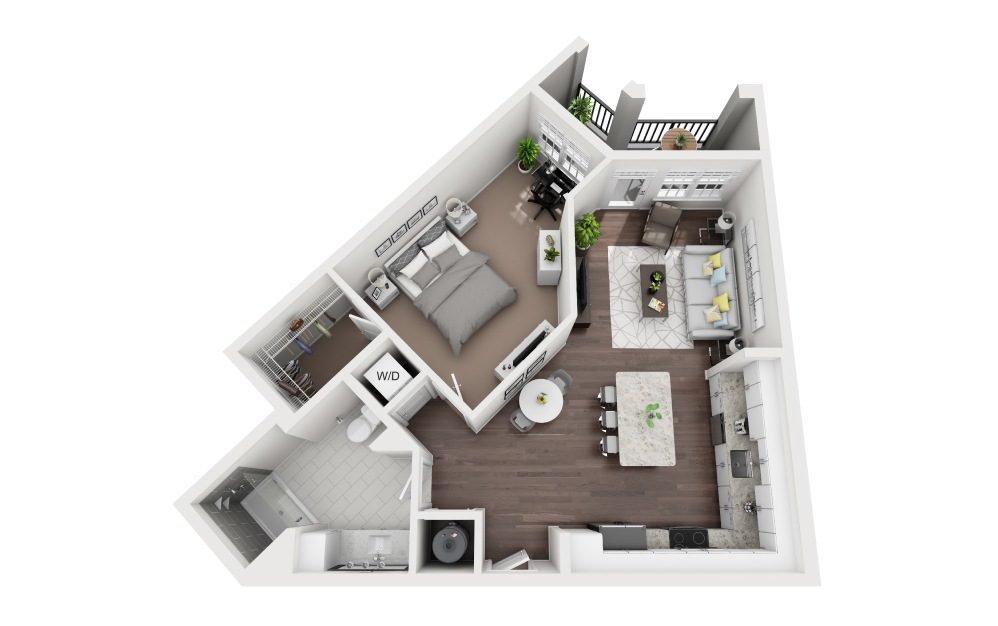 Caspersen - 1 bedroom floorplan layout with 1 bath and 831 square feet.