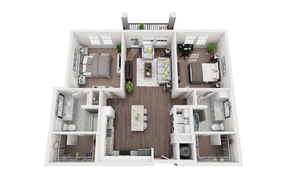 Coquina - 2 bedroom floorplan layout with 2 baths and 1128 square feet.