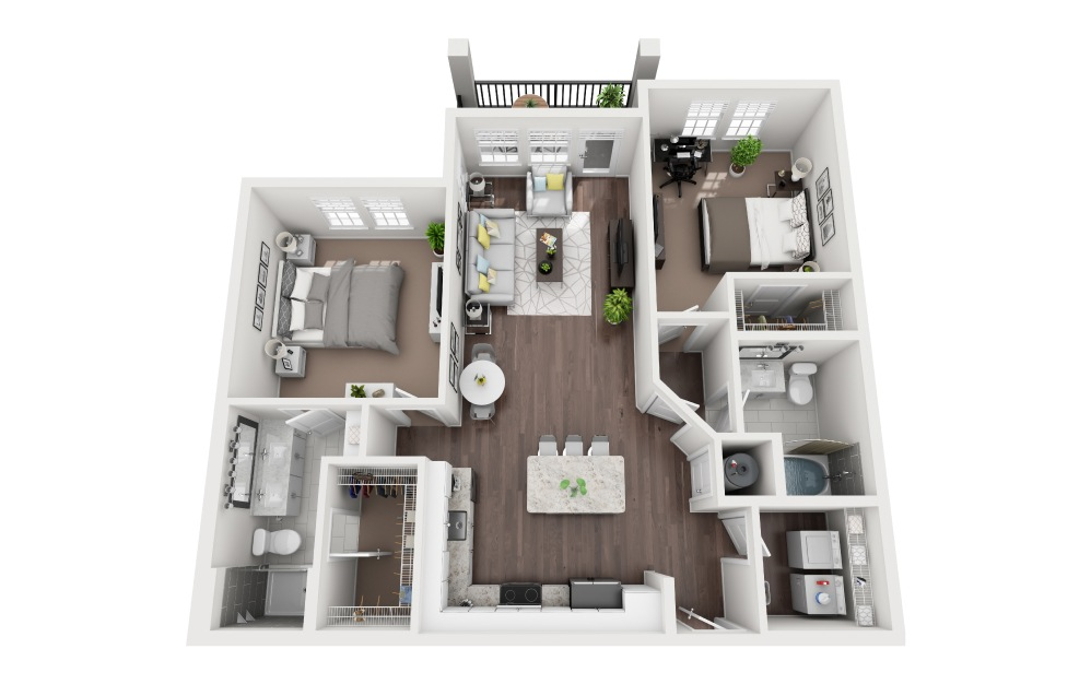 Crescent - 2 bedroom floorplan layout with 2 baths and 1150 square feet.