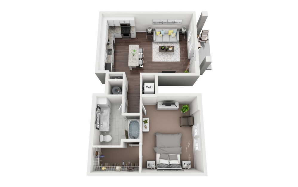 Lido - 1 bedroom floorplan layout with 1 bath and 795 square feet.