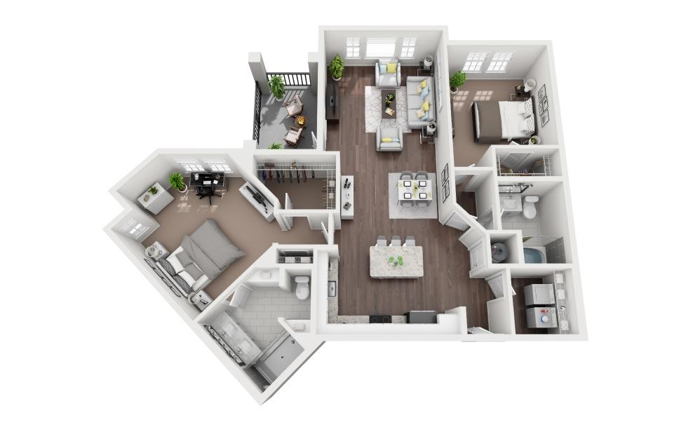 Manasota - 2 bedroom floorplan layout with 2 baths and 1301 square feet.