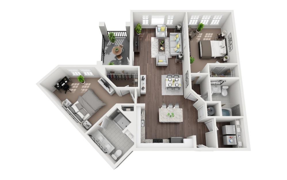 Nokomis - 2 bedroom floorplan layout with 2 baths and 1350 square feet.