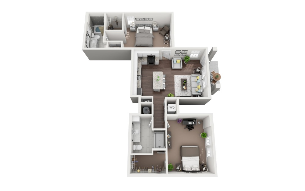 Siesta Key - 2 bedroom floorplan layout with 2 baths and 1149 square feet.