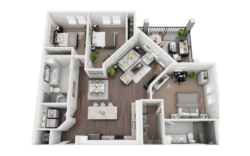 Turtle - 3 bedroom floorplan layout with 2 baths and 1419 square feet.
